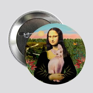 "Sphynx Cat & Mona Lisa 2.25"" Button"