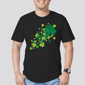 Shamrocks and Swirls Men's Fitted T-Shirt (dark)