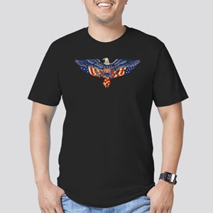 Retro Eagle and USA Flag Men's Fitted T-Shirt (dar