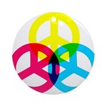 Glowing Colorful Peace signs Ornament (Round)