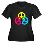 Glowing Colorful Peace signs Women's Plus Size V-N