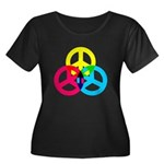 Glowing Colorful Peace signs Women's Plus Size Sco