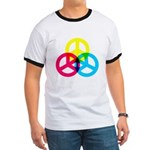 Glowing Colorful Peace signs Ringer T
