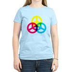 Glowing Colorful Peace signs Women's Light T-Shirt