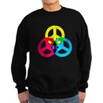 Glowing Colorful Peace signs Sweatshirt (dark)