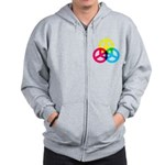 Glowing Colorful Peace signs Zip Hoodie