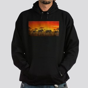 Elephants at Sunset Hoodie (dark)