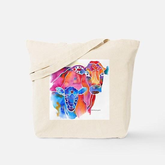 Cow and Calf Vivid Colors Tote Bag