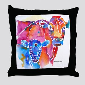 Cow and Calf Vivid Colors Throw Pillow