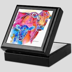 Cow and Calf Vivid Colors Keepsake Box