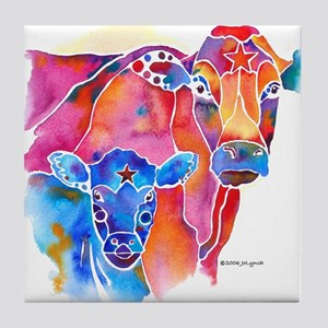 Cow and Calf Vivid Colors Tile Coaster