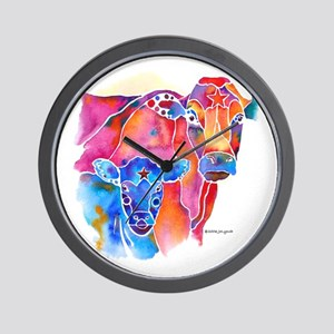 Cow and Calf Vivid Colors Wall Clock