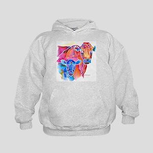 Cow and Calf Vivid Colors Kids Hoodie