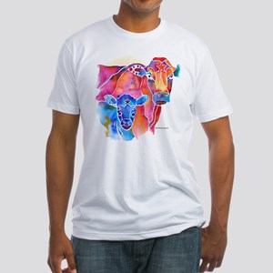 Cow and Calf Vivid Colors Fitted T-Shirt
