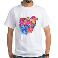 Cow and Calf Vivid Colors White T-Shirt