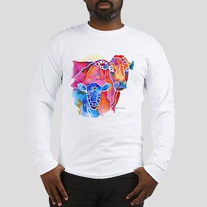 Cow and Calf Vivid Colors Long Sleeve T-Shirt