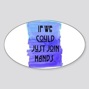 JOIN HANDS Oval Sticker
