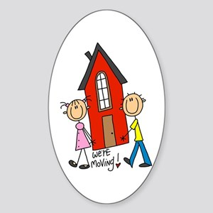 House We're Moving Oval Sticker