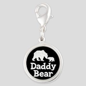 Daddy Bear Silver Round Charm