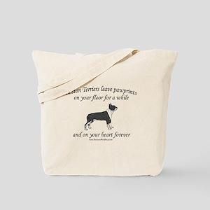 Boston Terrier Pawprints Tote Bag