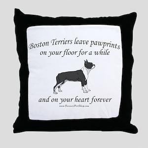 Boston Terrier Pawprints Throw Pillow