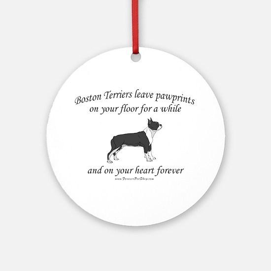 Boston Terrier Pawprints Ornament (Round)