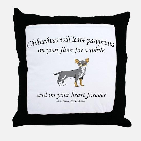 Chihuahua Pawprints Throw Pillow