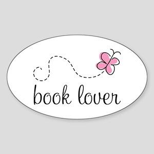 Cute Book Lover Oval Sticker