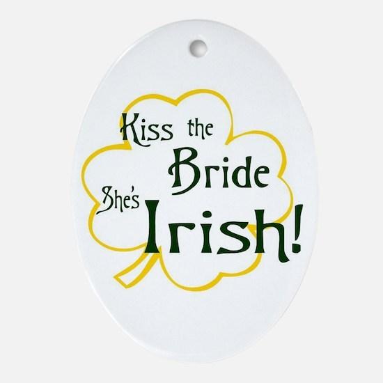 Kiss the Bride Oval Ornament