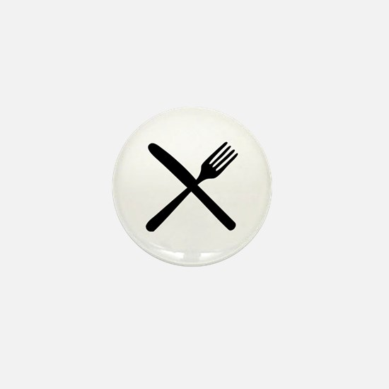 cutlery - knife and fork Mini Button