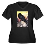 Raven Women's Plus Size V-Neck Dark T-Shirt