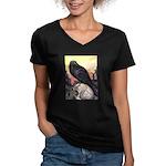 Raven Women's V-Neck Dark T-Shirt