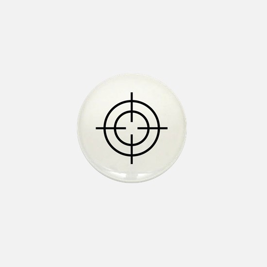 black crosshairs cross Mini Button