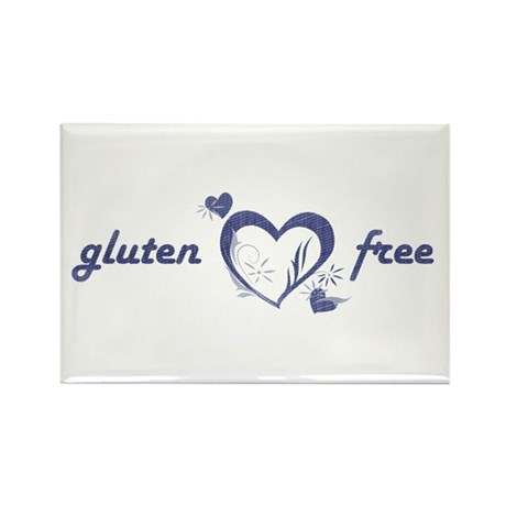 gluten free - hearts, denim Rectangle Magnet