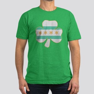 Irish Chicago flag shamrock Men's Fitted T-Shirt (