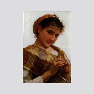Young Girl Crocheting Rectangle Magnet