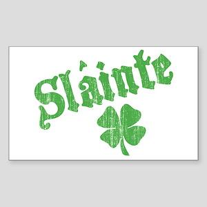 Slainte with Four Leaf Clover Sticker (Rectangular