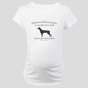 Doberman Pawprints Maternity T-Shirt
