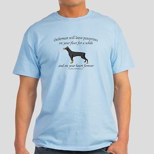 Doberman Pawprints Light T-Shirt