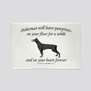 Doberman Pawprints Rectangle Magnet