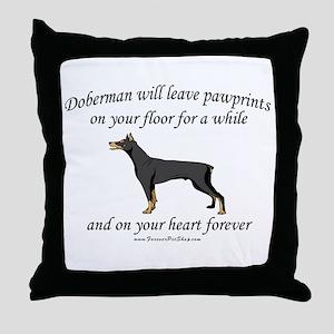 Doberman Pawprints Throw Pillow