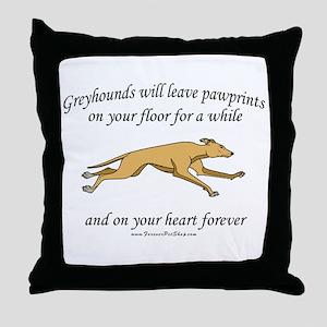 Greyhound Pawprints Throw Pillow