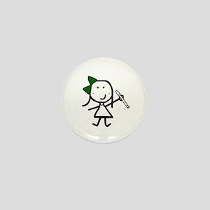 Girl & Recorder Mini Button