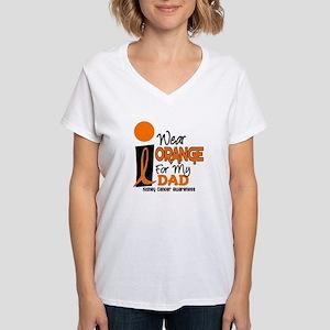 I Wear Orange For My Dad 9 KC Women's V-Neck T-Shi