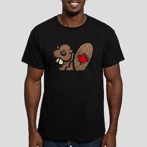Canada Beaver Men's Fitted T-Shirt (dark)