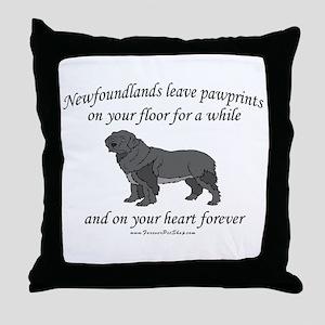 Newfoundland Pawprints Throw Pillow