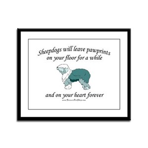 Sheepdog Pawprints Framed Panel Print