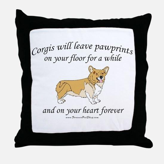 Corgi Pawprints Throw Pillow