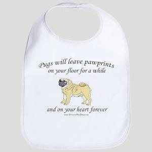 Pug Pawprints Bib