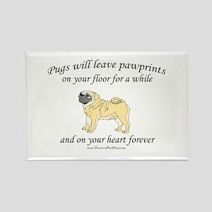 Pug Pawprints Rectangle Magnet